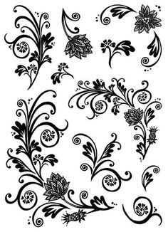 Crafty Individuals Stamp - Crafty Elements - Floral Flourishes and Swirls - CI235