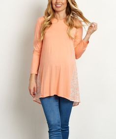Loving this PinkBlush Peach Floral-Back Maternity Swing Top on #zulily! #zulilyfinds