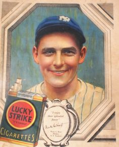 Waite Hoyt NY Yankee Ad Baseball Star Lucky Strike Cigarette Advertisement 1920s Christmas Gift for Men Sports Memorabilia Magazine Wall Art