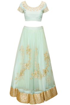 Light blue floral embroidered lehenga set available only at Pernia's Pop-Up Shop.