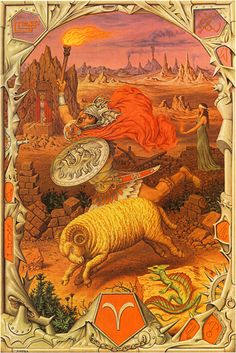 Aries Zodiac Sign Artwork, Artist: Johfra Bosschart | #aries #zodiac #astrology