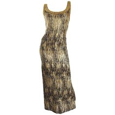 1950s Beaded Gold Silver Black Silk Couture Wiggle Gown Dress