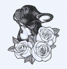 French Bulldog sketch by Jeroen Teunen. Tattoo Design , Roses , Frenchie , Bulld… French Bulldog sketch by Jeroen Teunen. Tattoo Bulldog, French Bulldog Tattoo, Beagle Tattoo, French Bulldog Drawing, Cute French Bulldog, French Bulldogs, Tattoo Designs, Design Tattoo, Diy Tattoo