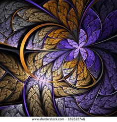 Purple & Gold Fractal Butterfly.