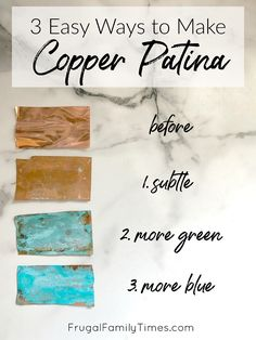 Wondering how to turn copper green? I've got the copper patina solution recipes - Diy and crafts interests Aged Copper, Copper Art, Green Copper, How To Patina Copper, Budget Crafts, Diy And Crafts, Fall Crafts, Excel Tips, Copper Crafts