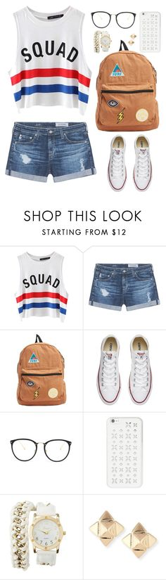 """""""Back to school outfit"""" by abigaillieb ❤ liked on Polyvore featuring Chicnova Fashion, AG Adriano Goldschmied, Billabong, Converse, Linda Farrow, MICHAEL Michael Kors, Charlotte Russe and Valentino"""