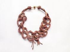 Statement necklace antique pink necklace bib by AlfieriJewelDesign
