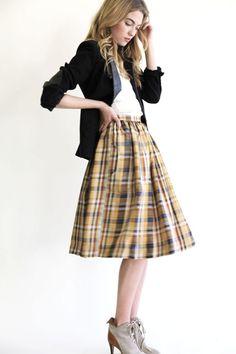 plaid skirt, blazer and booties