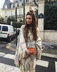 Negin Mirsalehi wearing Chloe printed cape and Chloe bag for fall streetstyle.
