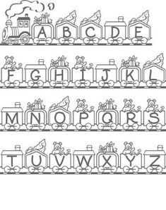 Train with bears and presents/gifts alphabet colouring page for kids printable. El alfabeto dibujo para colorear imprimibles para niños For more info on alphabets go here Ninjago Coloring Pages, Shopkins Colouring Pages, Train Coloring Pages, Pokemon Coloring Pages, Coloring Pages For Boys, Alphabet Coloring Pages, Coloring Book Pages, Printable Coloring Sheets, Letter Stencils