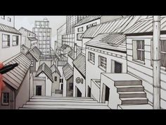 How to Draw a City using 1-Point Perspective: Narrated - YouTube