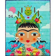 Frida Kahlo Lotería tarjeta #54 La Rana (la rana) impresión 8 x 10 de pintura de LuLu Mypinkturtle