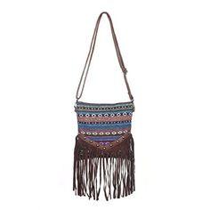 448333652be2 Anleowatch 1PCS Strip National Style Women Shoulder Bag Fringe Bohemian  Tassel Cross Body Bags (Coffee