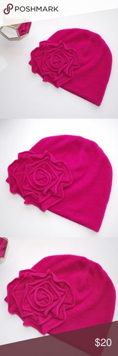 Cashmere Flower Beanie Beautiful hot pink cashmere beanie with cute flower 🌺 embellishment. In perfect condition! 👌🏼 LOFT Accessories Hats