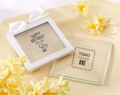 Personalized Glass Coasters - Kate's Woodland Birthday Collection (Set of 12)