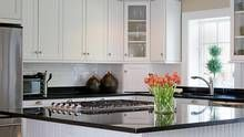 Kitchens Black Granite Countertops With Subway Tiles Backsplash And White Cabinets : Kitchens With Black Granite Countertops , Kitchen Painting Kitchen Counters, White Kitchen Cabinets, Kitchen Paint, Kitchen Countertops, New Kitchen, Kitchen Decor, Black Countertops, Countertop Options, Black Granite
