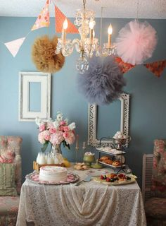 vintage themed baby shower by Yes Girls dessert table