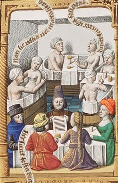 Augustine, La Cité de Dieu (Vol. Translation from the Latin by Raoul de Presles. men and women at a meal, in bath, & an attached brothel-scene fol. Medieval Life, Medieval Fashion, Medieval Clothing, Medieval Art, Medieval Manuscript, Illuminated Manuscript, Dragon Vert, Renaissance, Medieval Paintings