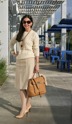 Cream / Beige / Ivory Ralph Lauren Cashmere Sweater, Wool-Cashmere Ann Taylor Skirt, Tan Michael Kors Leather Bag, Ralph Lauren Snakeskin Pumps and Sunglasses, Fendi Scarf and Watch, and Gold, Ivory, and Tortoise Jewelry. Preppy and Professional Outfit!