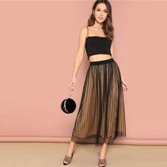 a4c8ee7c84 Sage Pinstripe Mesh Overlay Midi Swing Skirt