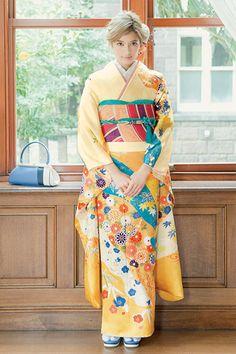 陽気なイエローに知的なターコイズ。上品な印象の着物。#ローラ #rola #着物