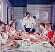 Red, White and Blue: 1956 | Shorpy Historical Photo Archive  We still eat watermelon this way.