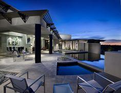 Modern Backyard, Infinity Pool, Ultra Modern Pool Area, Contemporary Pool, Home Inspiration, Arizona Architecture, Nature Inspired Interior Ideas, Creative Decor, Desert Designs, Custom Home