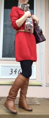 29 New Ideas Skirt Red Outfit Winter Boots Sweater Dress Outfit, Winter Dress Outfits, Mom Outfits, Fall Winter Outfits, Autumn Winter Fashion, Casual Outfits, Winter Boots, Red Cardigan, Winter Style