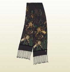 iris print silk scarf