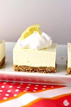 """No Bake Lemon Cheesecake Squares is a great dessert for this time of year! The tart lemon no-bake """"cheesecake"""" filling sitting atop a traditional graham cracker crust will have your mouth singing and…MoreMore"""