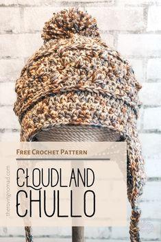 Cloudland Chullo - Crochet Pattern - The Roving Nomad Knitting TechniquesKnitting For KidsCrochet PatronesCrochet Amigurumi Crochet Adult Hat, Bonnet Crochet, Crochet Beanie, Diy Crochet, Crochet Crafts, Crochet Hooks, Knitted Hats, Crochet Hooded Scarf, Crochet Scarves