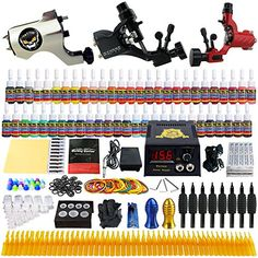 Solong Tattoo Complete Tattoo Kit 3 Pro Rotary Machine Guns 54 Inks Power Supply Foot Pedal Needles Grips Tips TK355 ** Be sure to check out this awesome product. Note:It is Affiliate Link to Amazon.