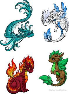 dragon Four Elements Dragons Sticker by Rebecca Golins Drawing Dragon dragon Drawing Dragons Elements Golins Rebecca Sticker Cute Dragon Drawing, Dragon Sketch, Cute Dragon Tattoo, Cute Fantasy Creatures, Mythical Creatures Art, Cute Animal Drawings, Cool Drawings, Magia Elemental, Cute Dragons
