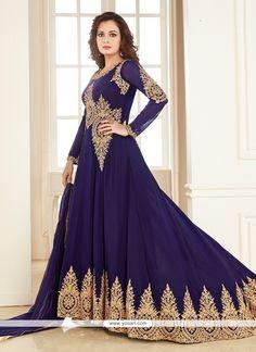 Voluptuous Embroidered Work Navy Blue Anarkali Salwar Kameez Model: YOS8209