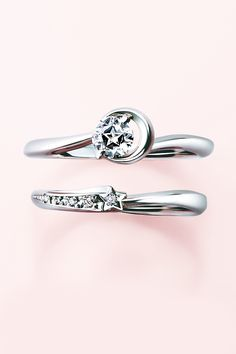 Engagement Ring Floating Star Cut Diamond Moonligtht Solitaire Shooting Star Marriage Ring Pt950 STAR JEWERLY Made in Japan