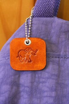 Elephant Bag Charm  Leather Elephant Handbag by TinasLeatherCrafts. Repin To Remember.