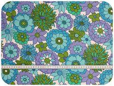 Floral retro vintage fabric  blue green purple by MirjamTheresa, $12.00