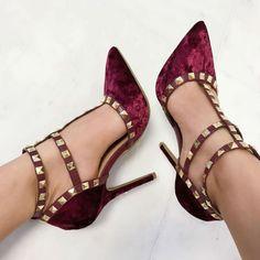 Studded Velvet Caged High Heels