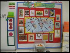 Art around the world bulletin board idea, but use kids real art projects!  :)