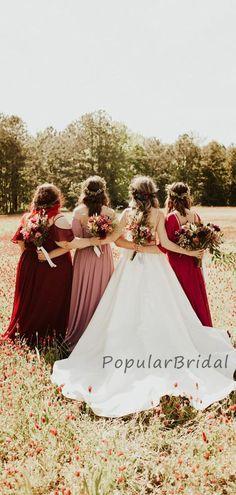 Elegant Chiffon A-line Long Bridesmaid Dresses, Cheap Bridesmaid Dresses PB006#bridesmaids #bridesmaiddress #bridesmaiddresses #dressesformaidofhonor #weddingparty #2020bridesmaiddresses Rustic Wedding Dresses, Wedding Dresses Plus Size, Boho Wedding Dress, Wedding Gowns, Affordable Bridesmaid Dresses, Long Bridesmaid Dresses, Bridal Dresses, Bridesmaids, Mermaid Prom Dresses