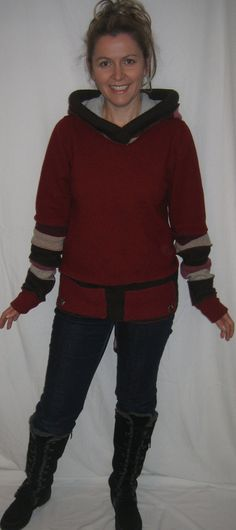 Reconstructed sweater Upcycled hooded sweater by Melinmade on Etsy, $110.00