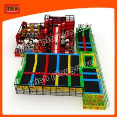 Multi Indoor Trampoline Park Arena Design for Kids from   Zhejiang Mich Playground Co., Ltd. Made-in-China.com 3/17 Price Est. $6 - $15 per Square Foot, Minimum Order 1 Set.