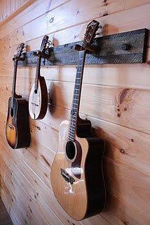 Reclaimed Wood Instrument Hanger by bluemountainwoodwork on Etsy Guitar Storage, Guitar Display, Guitar Wall Hanger, Guitar Rack, Home Music Rooms, Home Studio Music, Rangement Makeup, Wooden Boat Building, Music Decor