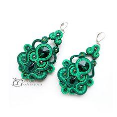 Сутаж Серьги Сутажные серьги Soutache jewelry Green soutache