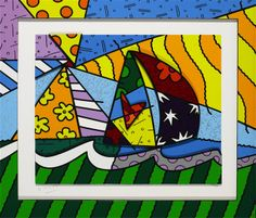 """Sailing"" by Romero Britto This is the first art I purchased on my cruise!  It's 3D and totally fun and cool."