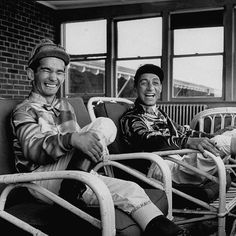 """Legendary jockeys Willie Shoemaker (L) and Eddie Arcaro (R) sitting together in what LIFE called """"Mutual Admiration Society - both maintains that the other is the greatest jockey"""" - from 1954. Shoemaker rode 4 Derby winners and Arcaro 5 (plus 2 Triple Crowns). (Michael RougierThe LIFE Picture Collection/Getty Images) #LIFElegends #KentuckyDerby by life"""