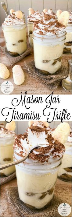 This Mason Jar Tiramisu Trifle is a new take the classic tiramisu dessert. There is plenty to go around as this recipe makes 6 pint-sized mason jars filled with delicious tiramisu dessert, yet only requires 10 ingredients. With 2 layers of delicious, espr Mason Jar Pies, Mason Jar Desserts, Mason Jar Meals, Meals In A Jar, Köstliche Desserts, Delicious Desserts, Dessert Recipes, Mason Jar Recipes, Delicious Chocolate