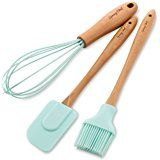 Spring Chef Spatula, Pastry Brush & Whisk, Silicone Set with Beechwood Handle, Mint