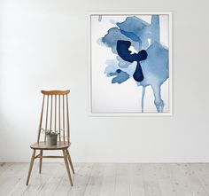 Large Abstract Painting Print Art in Watercolor Painting Style, Large Blue Flower Art, Navy Blue Abstract Art Print, Floral Art Framed Evo