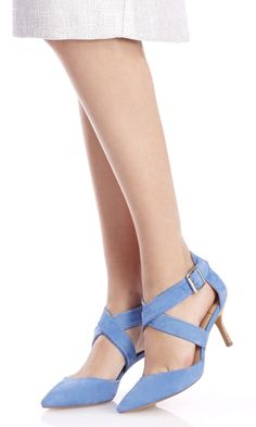 Tamra soft suede heel in Cay Blue | Sole Society